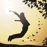 Happiness. The jumping boy. Happiness. ( illustration Royalty Free Stock Photos