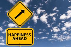 Happiness ahead. A traffic sign with the label Happiness ahead stock image