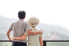 Happiness asian middle aged a couple in holiday. stock photo