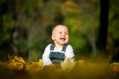 Happiness - baby in nature Royalty Free Stock Image