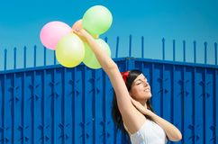 Happiness with Balloons Stock Image