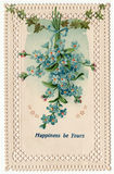 Happiness Be Yours Vintage Floral Postcard 1910's. Vintage postcard from the turn of the 20th century.  Lace border, featuring a bunch of delicate blue forget-me Royalty Free Stock Image