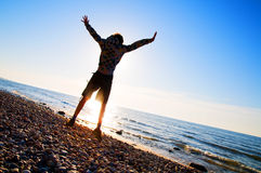 Happiness in the beach scenery Royalty Free Stock Photo