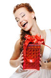 Happiness of a beautiful woman holding the red box Stock Images