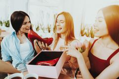 Happiness for Beautiful Women. Happy Girl with Gift. Holiday for Woman. Love for all Women in this Happy Day. Person with Friends. In Day 8 March. Lifestyle For stock image