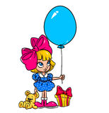 Happiness birthday gift girl cartoon Royalty Free Stock Image