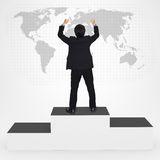 Happiness businesses man standing on winner podium. Happiness businesses man standing on top of winner podium, Success in business concept royalty free illustration