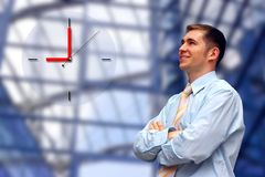 Happiness businessman look Stock Image