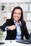 Happiness businesswoman in office Royalty Free Stock Image