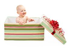 Happiness child in gift box Royalty Free Stock Images