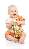 Happiness child keeps gift box Royalty Free Stock Image