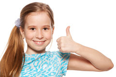 Happiness child showing sign okay. Happy girl showing thumb up. Happiness child showing sign okay Royalty Free Stock Image