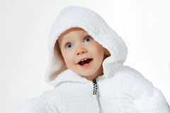 Happiness child in white hood Stock Photo