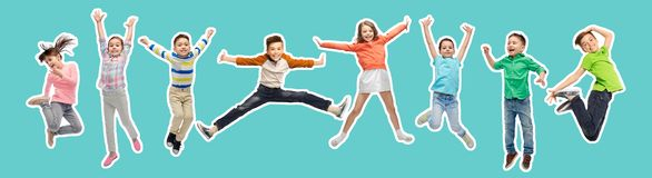 Happy kids jumping in air over blue background. Happiness, childhood, freedom, movement and people concept - magazine style collage of happy kids jumping in air royalty free stock images
