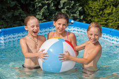 Happiness children at pool Stock Images