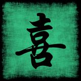Happiness Chinese Calligraphy Set. Happiness Chinese Calligraphy Symbol Grunge Background Set Stock Photos
