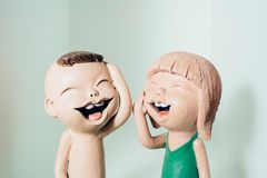 Happiness of clay dolls Royalty Free Stock Images