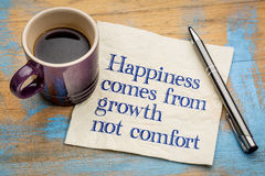 Happiness comes from growth. Not comfort - inspirational handwriting on a napkin with a cup of espresso coffee Stock Images
