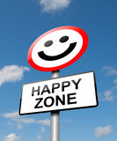 Happiness concept. Illustration depicting a road traffic sign with a happiness concept. Blue sky background Stock Photos