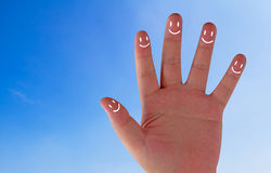 Happiness Concept Background. Happiness concept, family hand smile on blue sky background, team relationship royalty free stock photography
