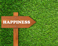Happiness Concept Background. Happiness concept, wooden sign on green grass background Stock Photos