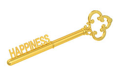 Happiness concept with golden key, 3D rendering Stock Photography