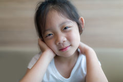 Happiness Concept Illustrated by Smiling Asian Child, Girl, Head Stock Photos