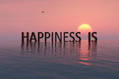 Happiness concept. Word on the water Stock Image