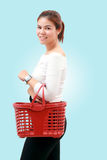 Happiness, consumerism, sale and people concept - smiling young. Woman Asian with shopping and buy at mall/supermarket/market Stock Image