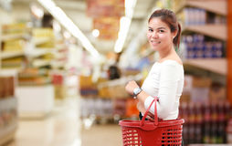 Happiness, consumerism, sale and people concept - smiling young. Woman Asian with shopping and buy at mall/supermarket/market Royalty Free Stock Image
