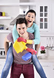 Happiness couple after cleaning the house Stock Photography