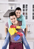 Happiness couple after cleaning the house Royalty Free Stock Image