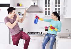 Happiness couple after cleaning the house Royalty Free Stock Images