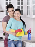 Happiness couple after cleaning the house Royalty Free Stock Photo