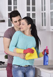 Happiness couple after cleaning the house Royalty Free Stock Photography