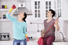 Happiness couple after cleaning the house Royalty Free Stock Photos