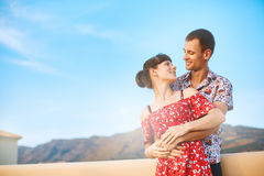 Happiness couple under blue sky Stock Images