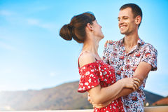 Happiness couple under blue sky Stock Photos