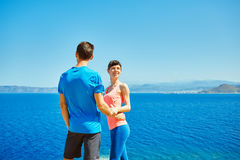 Happiness couple under blue sky Royalty Free Stock Image