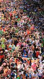 Happiness Crowd Famous Thai New Year And Water Festival. People are filled with happiness and fun on songkran day  thai new year  or water festivals in Bangkok Royalty Free Stock Photo