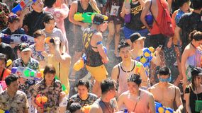 Happiness  Crowd. Funny Time On Thai New Year  Or Water  festivals. Water Playing. Tourist happy with splash water on songkran day or thai new year  celebrated Royalty Free Stock Photography