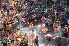 Happiness  Crowd. Thai New Year Combat With Water For Fun. Happiness Tourist Fighting with water for fun on songkran day or thai new year  celebrated  local Stock Images