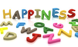 Happiness. 3d letters and inscription happiness Royalty Free Stock Image