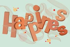 Happiness 3D typographic stock illustration