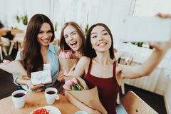 Tea in Fany Cheerful Day. Happy with Friends. stock image
