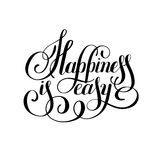 Happiness is easy hand lettering positive inscription Royalty Free Stock Images