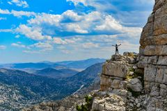 Happiness in endless mountains Stock Images