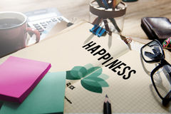Happiness Enjoyment Recreation Relaxation Positivity Concept. Enjoyment Happiness Coffee Notes Concept royalty free stock photography