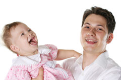 Happiness family. Happy dared child and the daddy isolated on a white background Stock Image