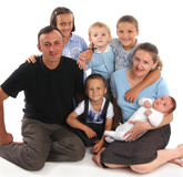 Happiness family having many children Royalty Free Stock Images